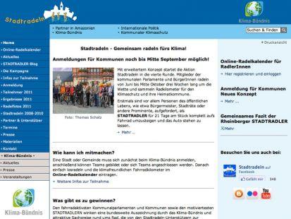 Website der Aktion Stadtradeln